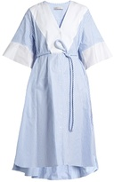 Palmer Harding PALMER//HARDING Flounce-cuff striped cotton shirtdress