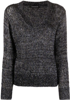 Luisa Cerano metallic-threading V-neck jumper