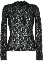 Helmut Lang crochet sheer blouse - women - Cotton/Polyamide/Spandex/Elastane - XS/S