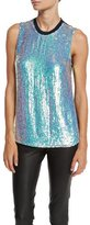 3.1 Phillip Lim Sleeveless Iridescent Sequined Silk Shell, Blue