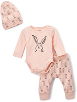 Petit Lem Pink Rabbit Bodysuit Set - Infant