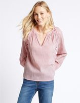 Marks and Spencer Pure Cotton Striped Long Sleeve Blouse