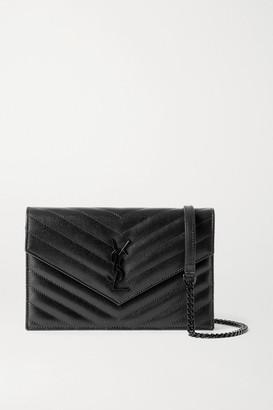 Saint Laurent Envelope Textured-leather Shoulder Bag - Black