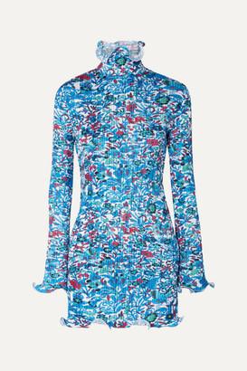 Givenchy Floral-print Plissé-satin Mini Dress - Blue