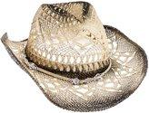 Dorfman Pacific Womens Straw Western Cowgirl Hat w/ Glass Beads