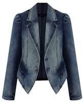 Cruiize Women's Slim Fit Lapel Long Sleeve Blazer Denim Jacket