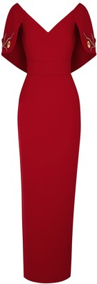 Safiyaa Red Embellished Stretch-cady Gown