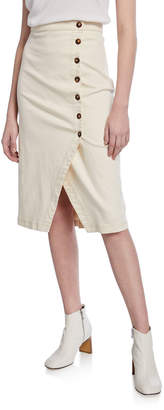 Astr Eileen Asymmetrical Button-Front Skirt