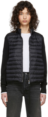 Moncler Black Down Knit Zip-Up Jacket