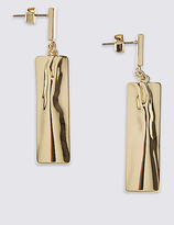 M&S Collection Dented Rectangular Drop Earrings