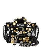 Moschino Biker Button Shoulder Bag, Black