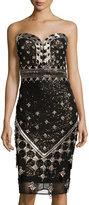 Badgley Mischka Beaded Strapless Sweetheart Dress, Gold/Black