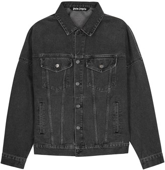 Palm Angels Black logo-print denim jacket