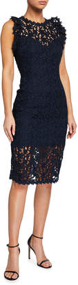 Halston Fitted Lace Illusion Sleeveless Dress
