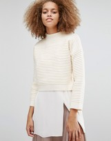 J.o.a. Boxy Cropped Rib Sweater