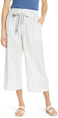Caslon Stripe Tie Waist Crop Pants