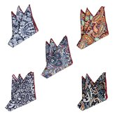 TopTie Men's Grid Cotton Pocket Squares Handkerchiefs Wedding Goods 5 Pack