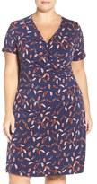 Adrianna Papell Print Faux Wrap Dress (Plus Size)