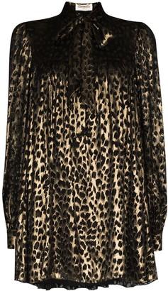 Saint Laurent Leopard-Print Metallic-Sheen Dress