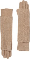 Portolano Nile Brown Cashmere Cable Knit Long Gloves