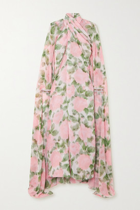 Richard Quinn Cape-effect Twisted Crystal-embellished Floral-print Chiffon Gown - Pink