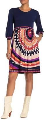 Donna Morgan 3/4 Sleeve Fit & Flare Dress