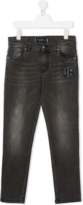 John Richmond Junior TEEN logo-patch jeans