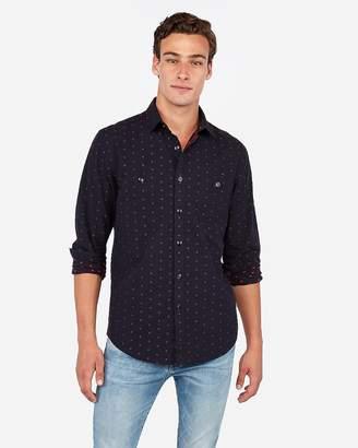 Express Slim Soft Wash Dot Print Pocket Shirt