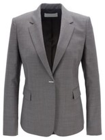 HUGO BOSS - Regular Fit Jacket In Micro Patterned Wool With Hardware Closure - Patterned
