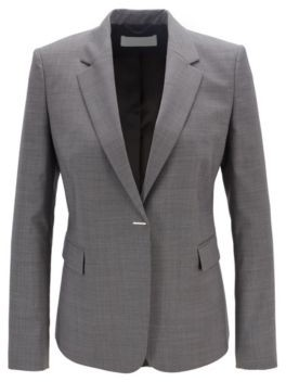 HUGO BOSS Regular Fit Jacket In Micro Patterned Wool With Hardware Closure - Patterned
