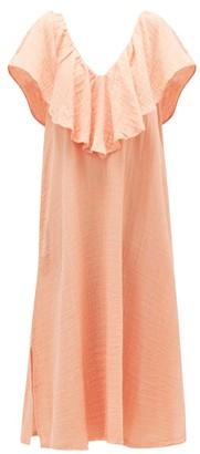 Anaak - Brigitte Ruffle V-neck Cotton-muslin Dress - Dark Pink