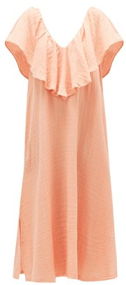 BRIGITTE Anaak Ruffle V-neck Cotton-muslin Dress - Womens - Dark Pink