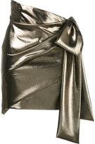 Saint Laurent asymmetric draped mini skirt - women - Silk/metal - 36