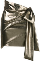 Saint Laurent asymmetric draped mini skirt - women - Silk/metal - 38