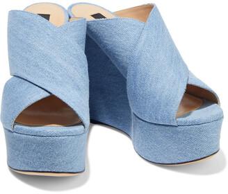 Sergio Rossi Alma Denim Wedge Sandals