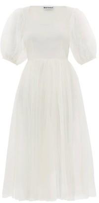 Molly Goddard Gwyneth Puff-sleeved Tulle Midi Dress - Ivory