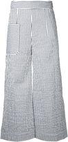 Eudon Choi striped cropped trousers - women - Cotton/Linen/Flax/Polyamide/Polyester - 8