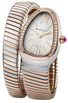 Bvlgari Serpenti Diamond, 18K Rose Gold & Stainless Steel Tubogas Bracelet Watch