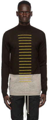 Rick Owens Yellow and Beige Mohair Colorblock Turtleneck