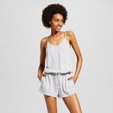 Xhilaration Women's Knit Romper Gray Stripe
