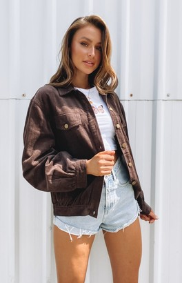 Beginning Boutique Jacey Cord Jacket Chocolate