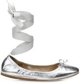 Saks Fifth Avenue Metallic Leather Ankle-Wrap Ballet Flats
