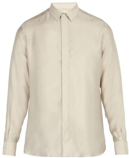 Saint Laurent Point Collar Shirt - Mens - Grey