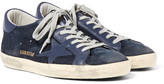 Golden Goose Deluxe Brand Superstar Distressed Suede And Leather Sneakers - Navy