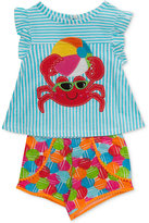 Rare Editions 2-Pc. Cotton Crab Top & Shorts Set, Baby Girls (0-24 months)