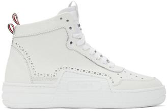 Thom Browne White Calfskin Basketball Sneakers