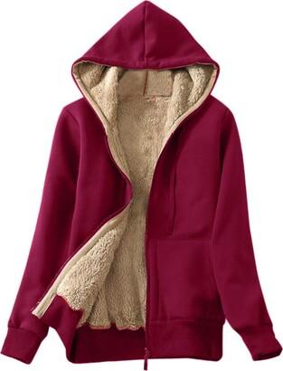 LEXUPE Women Autumn Winter Warm Comfortable Coat Casual Fashion Jacket Casual Winter Warm Sherpa Lined Zip Up Hooded Sweatshirt Jacket Coat Red