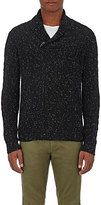 Barneys New York Men's Cashmere Donegal-Effect Shawl Sweater-BLACK
