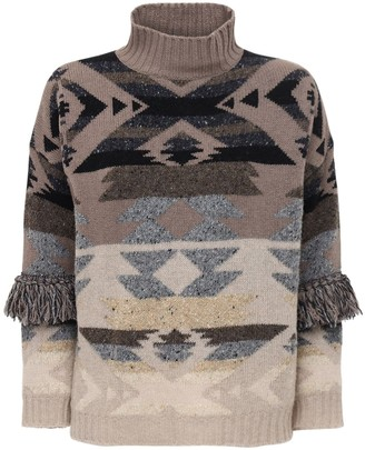 Max Mara Wool Knit Jacquard Mock Neck Sweater