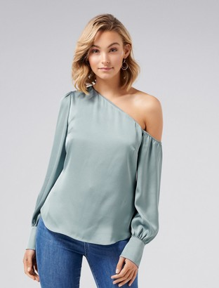 Forever New Lana Satin Tipped Shoulder Top - Ice Green - 4